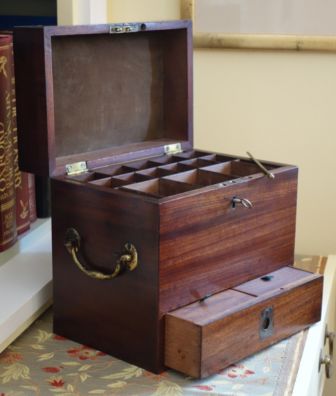 Georgian medicine box open angled