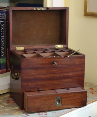 Georgian medicine box open