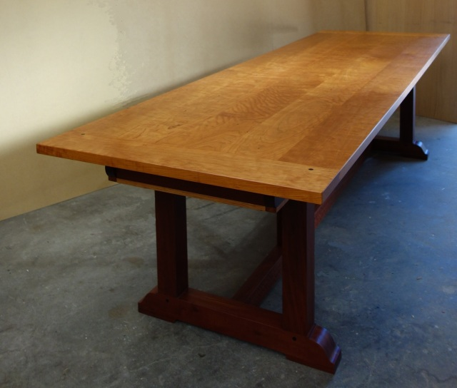 Cherry wood refectory table 1