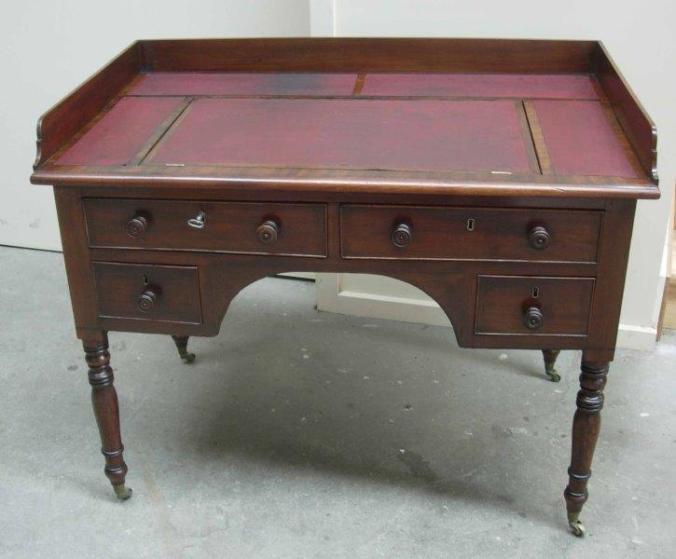 Mahogany kneehole desk front