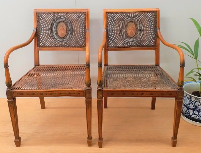 Neo-classical revival caned chairs 4